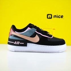Nike Air Force 1 Shadow Black Light Arctic Pink Claystone Red CU5315 001 Womens Running Shoes