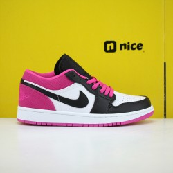 Air Jordan 1 Low Black Active Fuchsia CK3022-005 AJ1 Unisex Jordan Sneakers