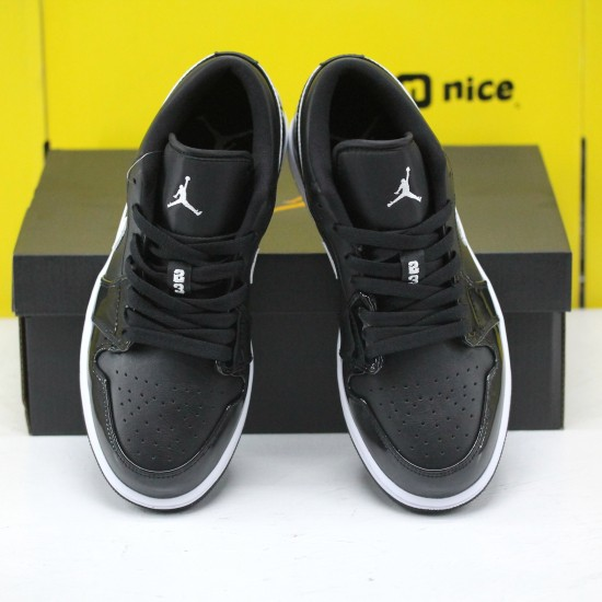 Air Jordan 1 Low Black Patent White 553560 002 AJ1 Unisex Jordan Sneakers
