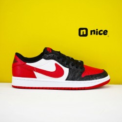 Air Jordan 1 Low Black White Red CW0192 200 AJ1 Unisex Jordan Sneakers