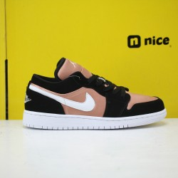 Air Jordan 1 Low Black White Rose Gold 554723 090 AJ1 Unisex Jordan Sneakers