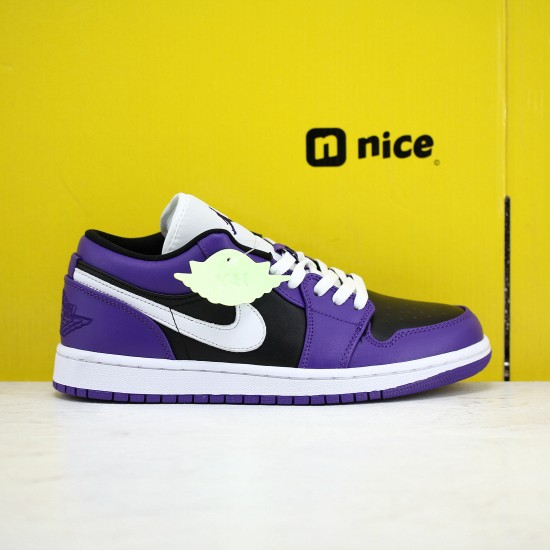 Air Jordan 1 Low Court Purple Black 553560 501 AJ1 Unisex Jordan Sneakers