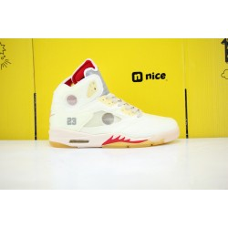 Nike Air Jordan 5 AJ5 Black Muslin-Fire Red Mens Basketball Shoes Cream Red CT8480-002