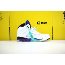 Nike Air Jordan 5 AJ5 Unisex Basketball Shoes White Purple Green AV3919-135