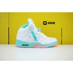 Nike Air Jordan 5 Light Aqua Unisex Basketball Shoes 440892-100