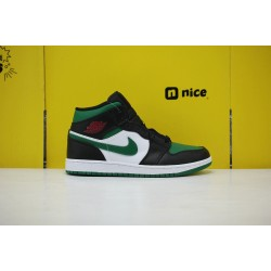 Nike Air Jordan 1 MID AJ1 Unisex Basketball Shoes Green White Black 554724-067