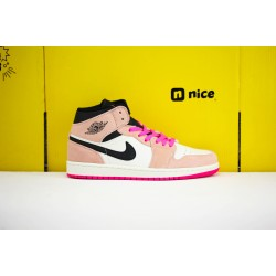 Nike Air Jordan 1 Mid Unisex Basketball Shoes White Pink Black 852542 801