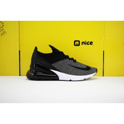 Nike Air Max 270 Flyknit Unisex Running Shoes Black Grey AO1023-001