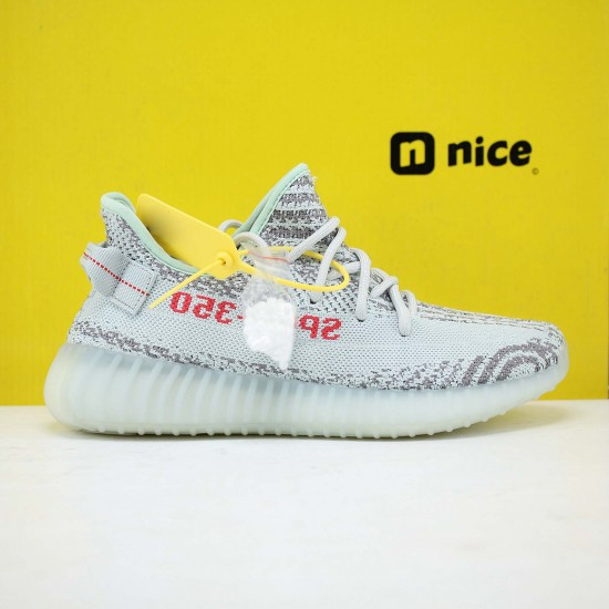 """Adidas Yeezy Boost 350 V2 """"Blue/Tint"""" Grey Three/High Resolution Red Running Shoes Unisex Sneakers B37571"""