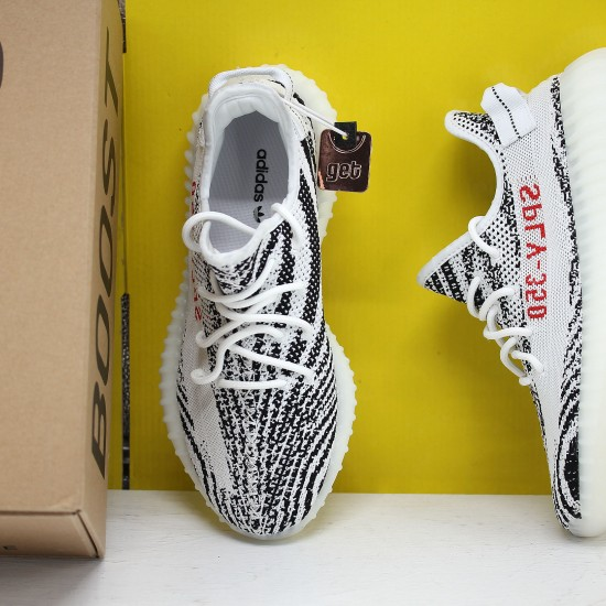 "Adidas Yeezy Boost 350 V2 ""Zebra"" White/Core Black/Red Running Shoes CP9654 Unisex Sneakers"
