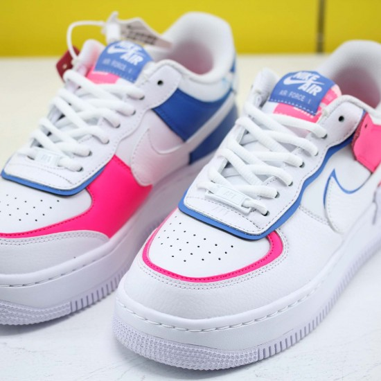 """Nike WMNS Air Force 1 Shadow """"Cotton Candy"""" White/White-White-Hyper Pink Running Shoes CU3012 111 Womens Sneakers"""