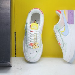 "Nike WMNS Air Force 1 Shadow ""White Hydrogen Blue Purple"" White/Hydrogen Blue-Purple Running Shoes CW2630 141 Sneakers"