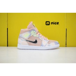 Nike Air Jordan 1 Mid Pink Multi Color Basketball Shoes CW6008 600 AJ1 Womens Sneakers