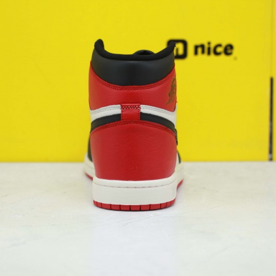 "Nike Air Jordan 1 Retro High OG ""Bred Toe"" Basketball Shoes 555088 610 Unisex Red/Black AJ1 Sneakers"