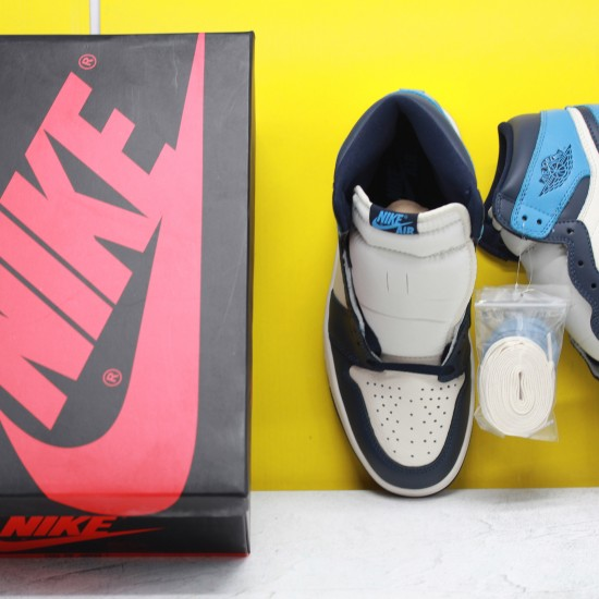 "Nike Air Jordan 1 Retro High OG ""Obsidian"" Blue/White Basketball Shoes Unisex AJ1 Sneakers 555088 140"