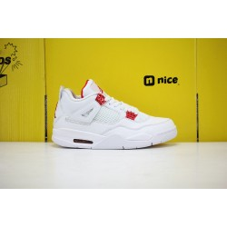 "Nike Air Jordan 4 ""Orange Metallic"" White/Red Basketball Shoes Mens CT8527 112 AJ4 Sneakers"