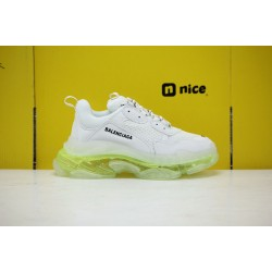 Balenciaga Triple S Gray/Green Running Shoes Unisex Sneakers