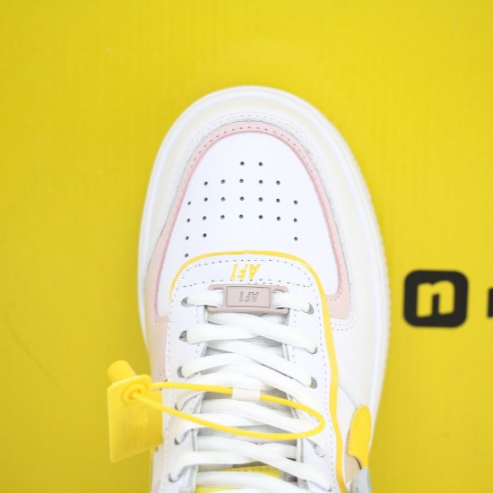 Nike WMNS Air Force 1 Shadow White/Pink/Yellow Running Shoes CJ1641 102 AF1 Sneakers