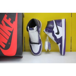 "Nike Air Jordan 1 ""Court Purple"" Basketball Shoes 555088-500 Unisex AJ1 Purple White Sneakers"